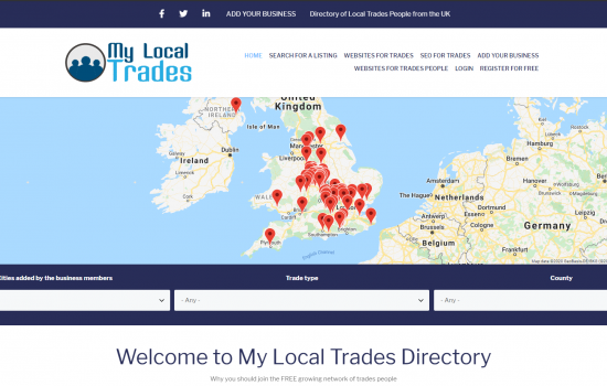 Trades person business listings directory